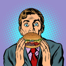 Surprised Man Eating Burger