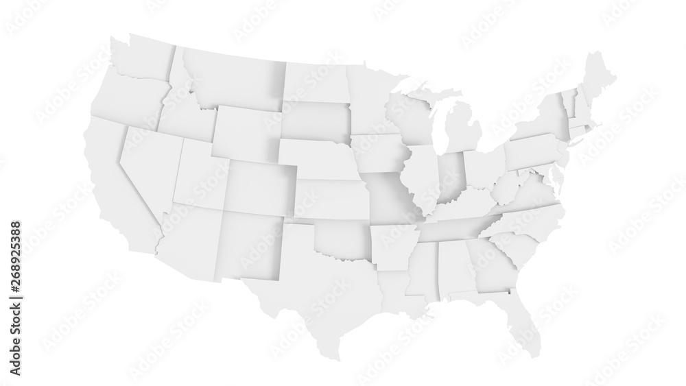 Fototapety, obrazy: United States of America gray 3D map
