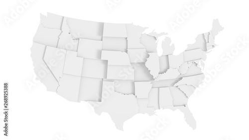 Obraz na plátně  United States of America gray 3D map