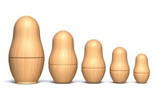 Wooden Unpainted Matryoshka Do...