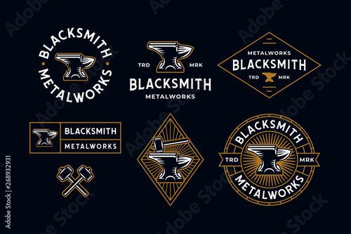 Photo Blacksmith Logo Set Blue Background