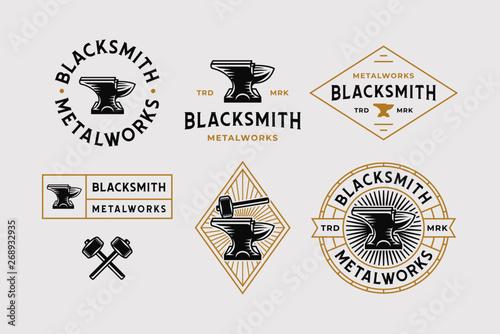 Blacksmith Logo Set White Background Canvas Print