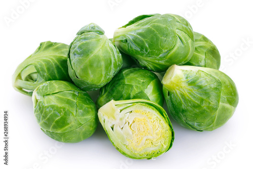 Photographie Brussels sprouts on white background