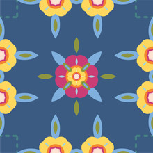 Colorful, Bold Floral Seamless Pattern With Faux Stitching And Quilt Look. Vector Repeat Design In Blue, Bright Pink And Yellow. Great For Textiles, Home Decor, Fashion, Bedding And Wrapping Paper.