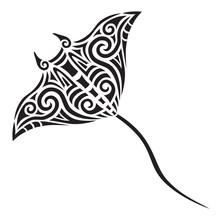 Manta Ray Tattoo Tribal Stylised Maori Koru Design