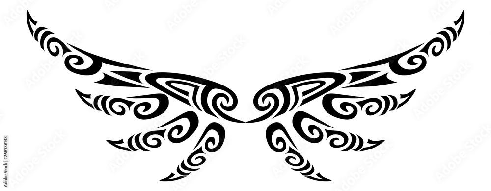 Fototapeta Angel wings flying tattoo tribal stylised maori koru design