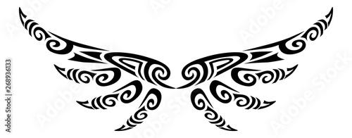 Photo Angel wings flying tattoo tribal stylised maori koru design