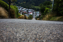 This Is The Steappest Road On The World. It Is Baldwin Street In Dunedin In New Zealand