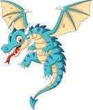 Fototapeta Dinusie - Cartoon baby dragon flying on white background