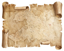 Ancient Worn Treasure Map Isol...