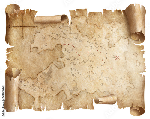 Ancient worn treasure map isolated Fototapete