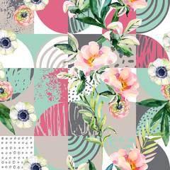 Panel Szklany Do pokoju dziewczyny Modern seamless geometric and floral pattern