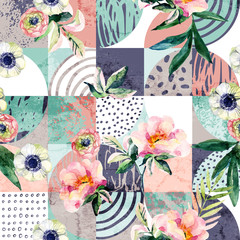 Fototapeta Do baru Modern seamless geometric and floral pattern