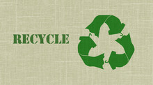 Recycle Textiles Symbol On Woven Cloth Texture With Recycle Text, Sustainable Fashion Concept Illustration Reuse, Recycle Clothes And Textiles