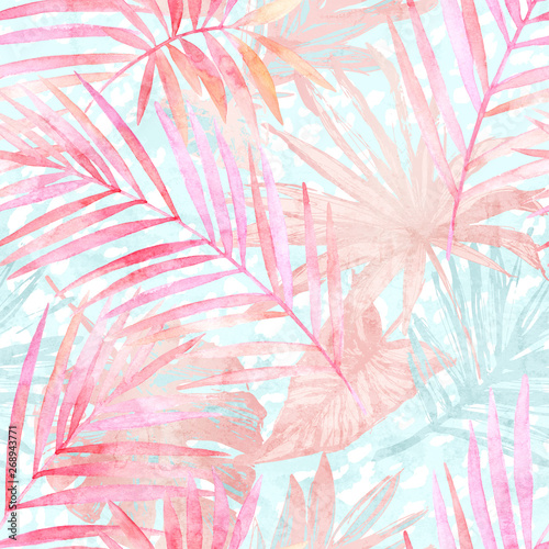 Poster de jardin Aquarelle la Nature Summer botanical seamless pattern: tropical leaves, leopard spots, animal skin print in pastel gold rose pink color