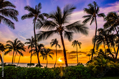 Obraz Zachód słońca w Ko Olina Resort na zachodniej stronie Oahu - fototapety do salonu