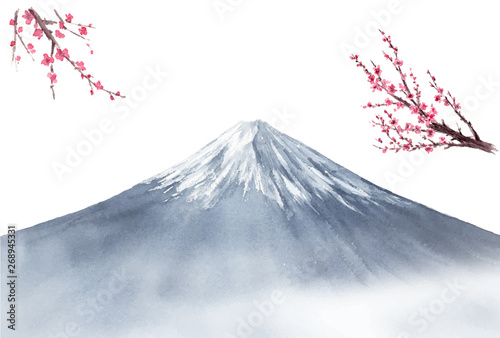 Fototapeta 富士山 梅 風景