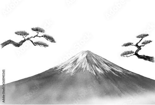 Obraz na plátně 富士山と松 水墨画