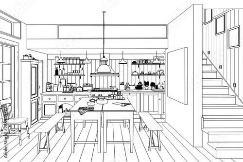 Küche: aus alt mach neu (Skizze) - Buy this stock ...