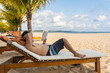 Man relax on the chair and reading book
