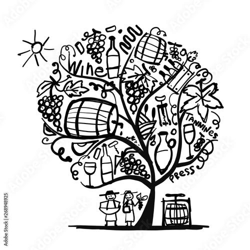 Fotomural  Wine tree, sketch for your design