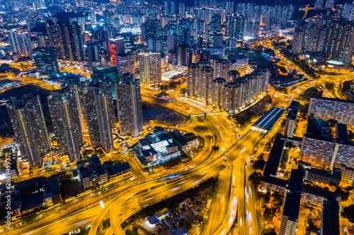 Aerial view of Hong Kong urban city at night Slika na platnu