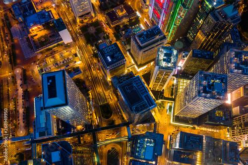 Fotografija  Top view of Hong Kong business district at night