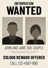 Information Wanted Poster With Male And Female Flat Avatars.