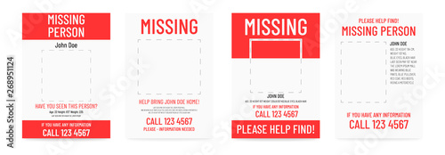 Missing poster template. Person lost banner design. Canvas-taulu