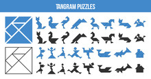 Printable Tangram, Puzzle Game. Set Of Shapes For Kids Activity That Helps To Learn Geometric Shapes. Animals , Birds, Fishes And People Made Of Triangles