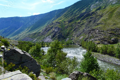 Fototapety, obrazy: Mountain riveron a sunny day.