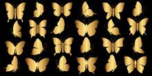 Set Of Gold Butterflies