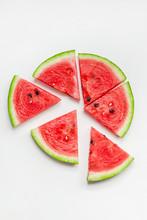 Fresh Watermelon Slices On Whi...