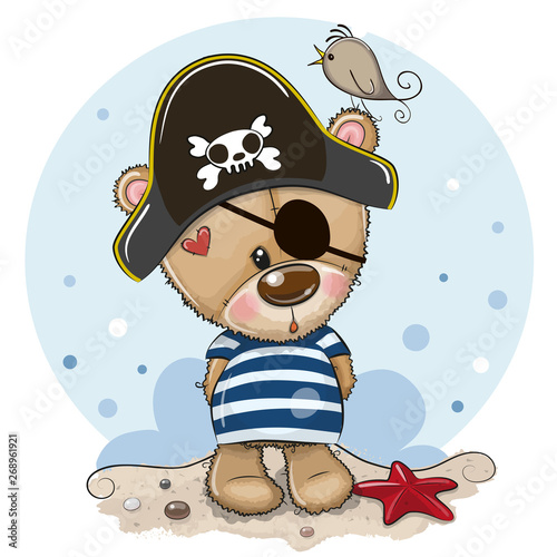 Baby cartoon Teddy Bear in sailor costume Fototapeta
