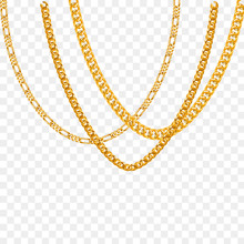 Gold Chain Isolated. Vector Ne...