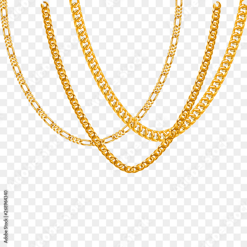 Foto  Gold chain isolated. Vector necklace
