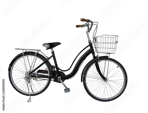 Photo sur Toile Velo Di cut old black bicycle on white background,object background, copy space