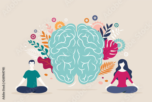 Stampa su Tela Young woman and man sit with crossed legs and meditate with brain icon on the background