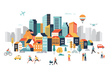 Smart city, landscape city centre with many building, airplane is flying in the sky and people walking, running in park.