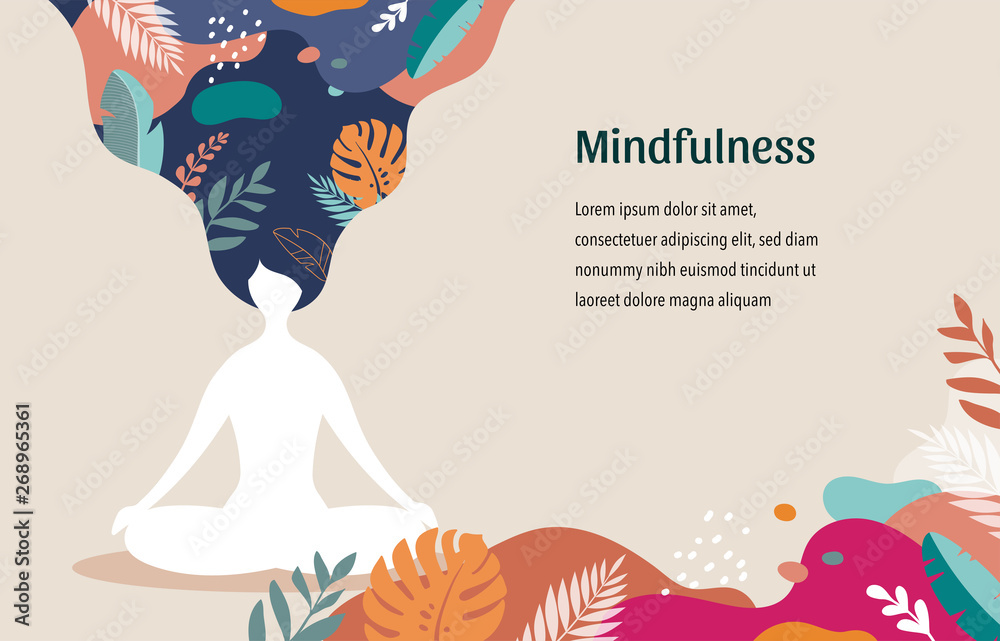 Fototapety, obrazy: Mindfulness, meditation and yoga background in pastel vintage colors - women sitting with crossed legs and meditating. Vector illustration