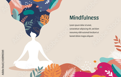Fotografiet Mindfulness, meditation and yoga background in pastel vintage colors - women sitting with crossed legs and meditating