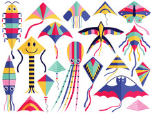 Flat Flying Wind Kites Set With Tales, Ribbons And Ornaments. Kite Festival Elements Of Different Types And Shapes. Such As Octopus, Swallow, Bat, Butterfly, Smile, Squid And Caterpillar.