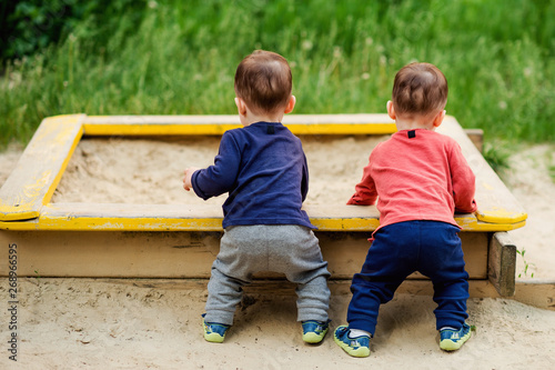 Photo  The two-year-old twin brothers play together on the playground