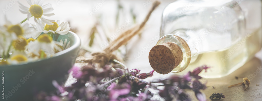 Fototapeta Background-header for natural cosmetics, wellness or homeopathy