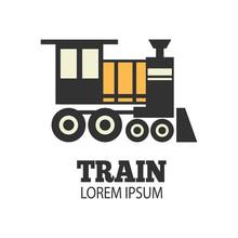 Vintage Steam Train Locomotive Logo Illustration. Engraving Style Vector Illustration. Logo Design Template. - Vector - Vector
