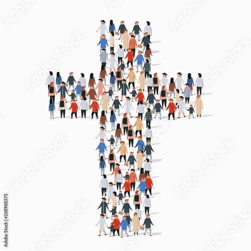 Obraz Large group of people in form of christian cross. - fototapety do salonu