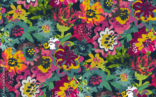 Foto auf AluDibond Künstlich Vector seamless pattern with plants, leaves and flower bouquets with hand painted texture.
