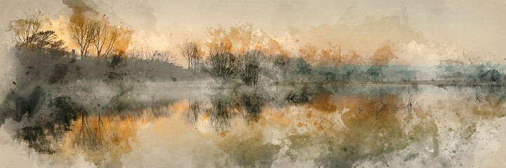 Watercolour painting of Panorama landscape of lake in mist with sun glow at sunrise