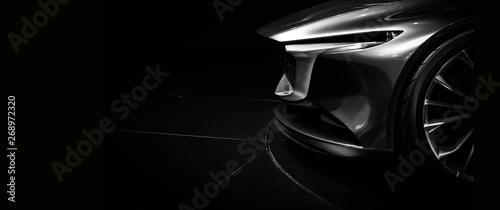Fototapeta Detail on one of the LED headlights modern car on black background obraz na płótnie