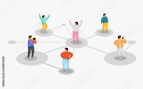 Obraz Connecting people. Social network concept. Refer a friend program. - fototapety do salonu